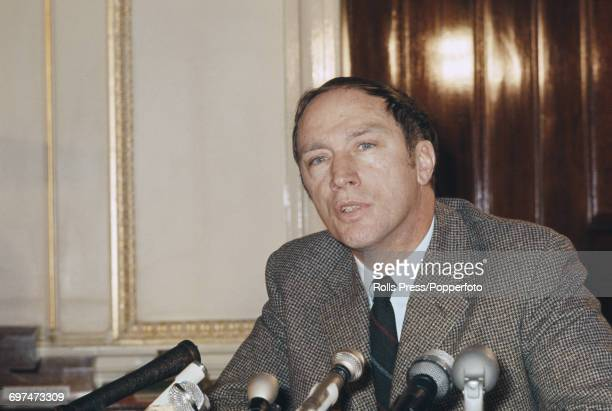 Prime Minister of Canada Pierre Trudeau pictured attending a press conference in London in January 1969 Pierre Trudeau is in London for the 1969...