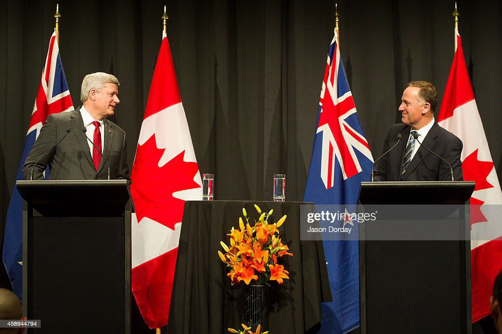 Prime Minister Of Canada <a gi-track='captionPersonalityLinkClicked' href=/galleries/search?phrase=Stephen+Harper+-+Politician&family=editorial&specificpeople=690870 ng-click='$event.stopPropagation()'>Stephen Harper</a> and Prime Minister of New Zealand <a gi-track='captionPersonalityLinkClicked' href=/galleries/search?phrase=John+Key&family=editorial&specificpeople=2246670 ng-click='$event.stopPropagation()'>John Key</a> take part in a joint press conference at the Sky City Grand Hotel on November 14, 2014 in Auckland, New Zealand. World economic leaders will all travel to Brisbane for the G20 Leadership Summit November 15-16.