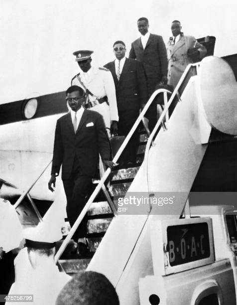 Prime minister of Congo Patrice Lumumba arrives with his staff at Idlewild airport New York on July 24 1960 before appearing at the United Nations...