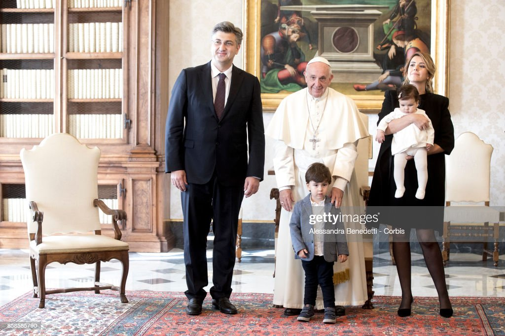 Prime Minister of Croatia Andrej Plenkovic meets with Pope Francis during a private audience on October 7, 2017 in Vatican City, Vatican. The Croatian Prime Minister was accompanied by his wife Ana Maslac Plenkovic and their two children.