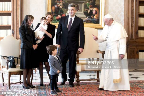 Prime Minister of Croatia Andrej Plenkovic meets with Pope Francis during a private audience on October 7 2017 in Vatican City Vatican The Croatian...