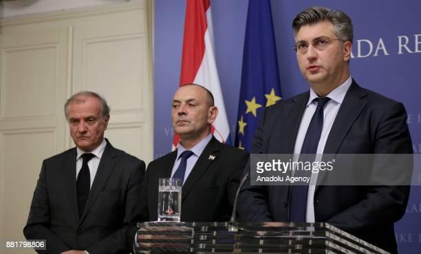 Prime Minister of Croatia Andrej Plenkovic speaks during the press conference on former Croat general Slobodan Praljak's death in Zagreb Croatia on...