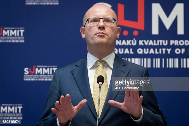 Prime minister of Czech Republic Bohuslav Sobotka gestures during a press conference at a Summit on Equal Quality of Products for All in Bratislava...