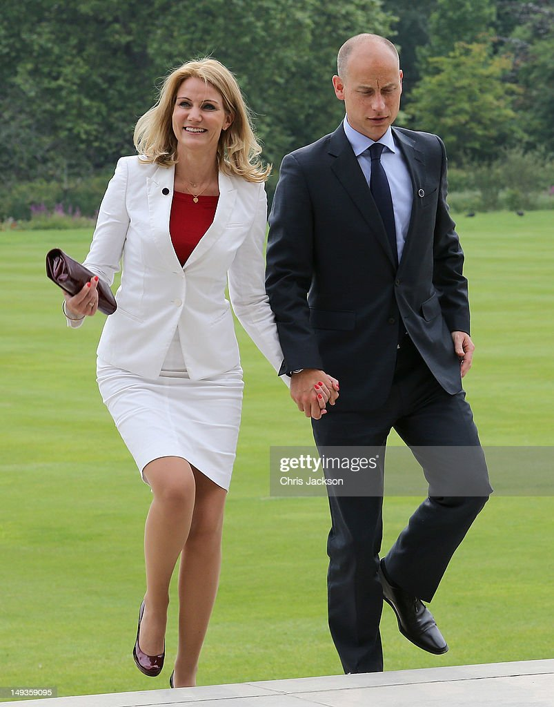Prime Minister of Denmark <a gi-track='captionPersonalityLinkClicked' href=/galleries/search?phrase=Helle+Thorning-Schmidt&family=editorial&specificpeople=2485486 ng-click='$event.stopPropagation()'>Helle Thorning-Schmidt</a> and her husband Stephen Kinnock arrive for a reception at Buckingham Palace for Heads of State and Government attending the Olympics Opening Ceremony at Buckingham Palace on July 27, 2012 in London, England.