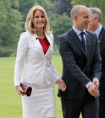 Prime Minister of Denmark Helle ThorningSchmidt and husband Stephen Kinnock arrive for a reception at Buckingham Palace for Heads of State and...