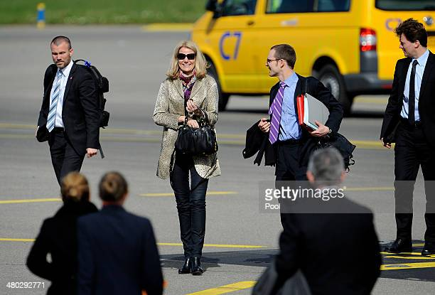Prime Minister of Denmark Helle ThorningSchmidt arrives at Schiphol Amsterdam Airport ahead of the 2014 Nuclear Security Summit on March 24 2014 in...