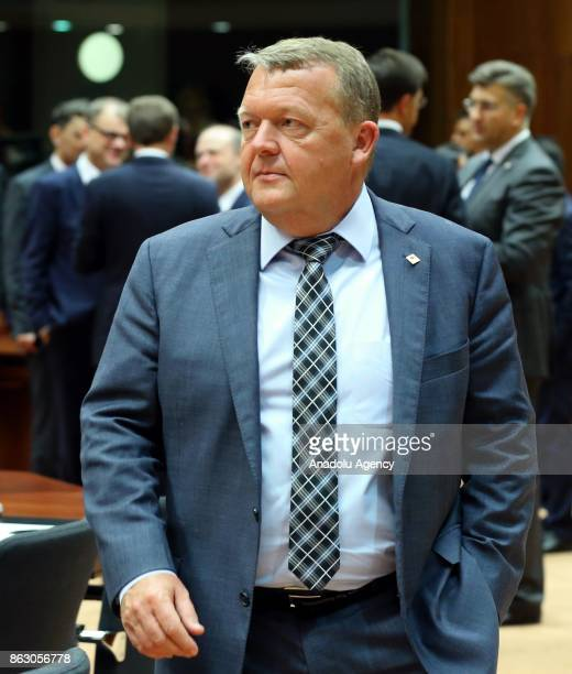 Prime Minister of Denmark Lars Lokke Rasmussen attends the European Council Meeting at the Council of the European Union building on October 19 2017...
