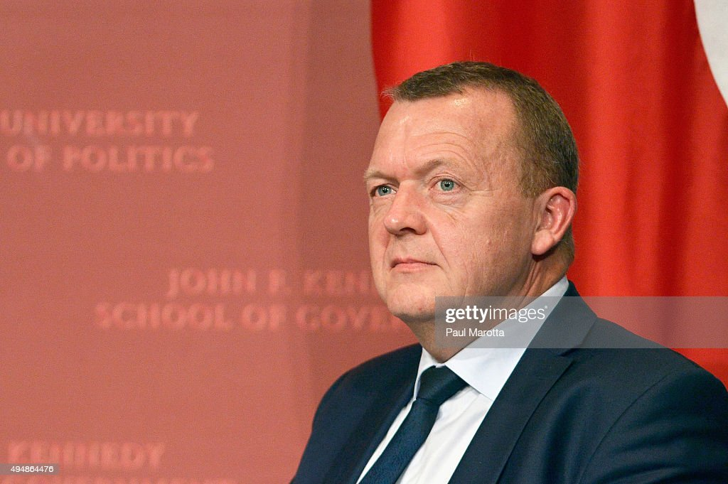 Prime Minister Of Denmark <a gi-track='captionPersonalityLinkClicked' href=/galleries/search?phrase=Lars+Lokke+Rasmussen&family=editorial&specificpeople=5839942 ng-click='$event.stopPropagation()'>Lars Lokke Rasmussen</a> gives a talk at Harvard University John F. Kennedy School of Government John Kennedy Jr. Forum Institute of Politics titled 'Nordic Solutions & Challenges: A Danish Perspective' moderated by Archon Fung, Acting Dean of the Kennedy School, on October 29, 2015 in Cambridge, Massachusetts.