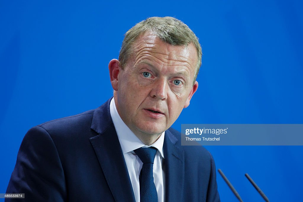 Prime Minister of Denmark <a gi-track='captionPersonalityLinkClicked' href=/galleries/search?phrase=Lars+Lokke+Rasmussen&family=editorial&specificpeople=5839942 ng-click='$event.stopPropagation()'>Lars Lokke Rasmussen</a> speaks to the media after his meeting with German Chancellor Angela Merkel (not pictured) on August 28, 2015 in Berlin, Germany.