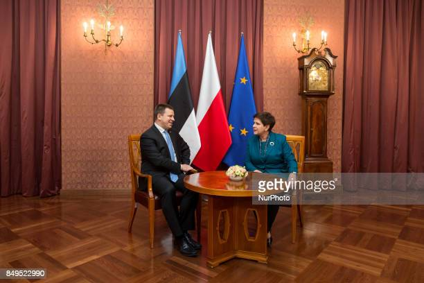 Prime Minister of Estonia Juri Ratas and Prime Minister of Poland Beata Szydlo during their meeting at Chancellery of the Prime Minister in Warsaw...