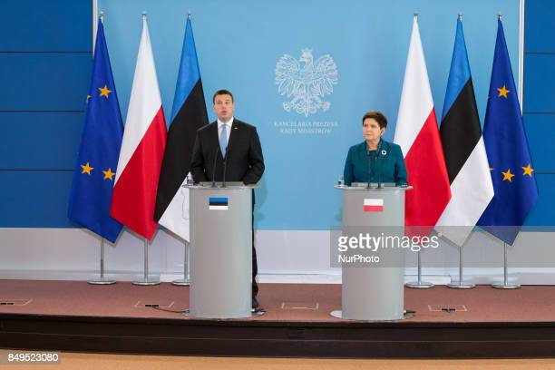 Prime Minister of Estonia Juri Ratas and Prime Minister of Poland Beata Szydlo during the press conference after their meeting at Chancellery of the...