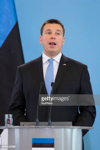 Prime Minister of Estonia Juri Ratas during the press conference after meeting with Prime Minister of Poland Beata Szydlo at Chancellery of the Prime...