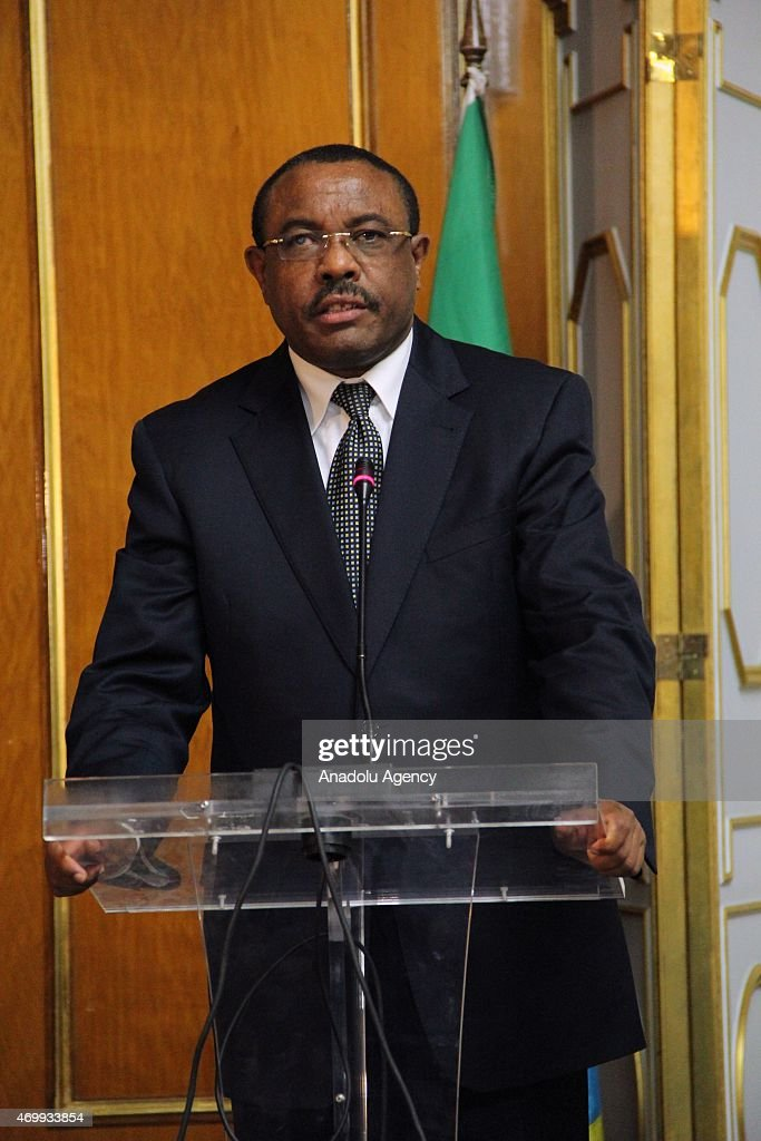 Prime Minister of Ethiopia <a gi-track='captionPersonalityLinkClicked' href=/galleries/search?phrase=Hailemariam+Desalegn&family=editorial&specificpeople=7752700 ng-click='$event.stopPropagation()'>Hailemariam Desalegn</a> holds a joint press conference with President of Rwanda Paul Kagame (not seen) in Addis Ababa, Ethiopia on April 16, 2015.