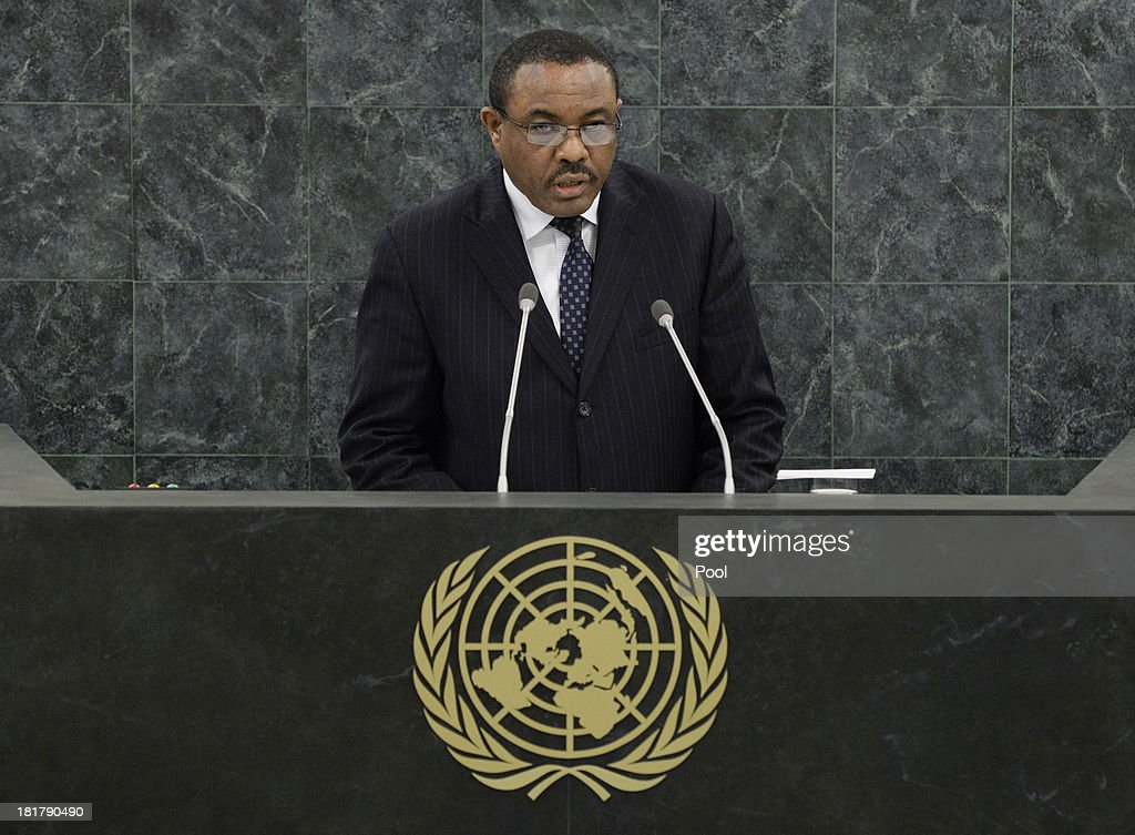 Prime Minister of Ethiopia <a gi-track='captionPersonalityLinkClicked' href=/galleries/search?phrase=Hailemariam+Desalegn&family=editorial&specificpeople=7752700 ng-click='$event.stopPropagation()'>Hailemariam Desalegn</a> speaks during the 68th Session of the United Nations General Assembly on September 25, 2013 in New York City. Over 120 prime ministers, presidents and monarchs are gathering this week for the annual meeting at the temporary General Assembly Hall at the U.N. headquarters while the General Assembly Building is closed for renovations.