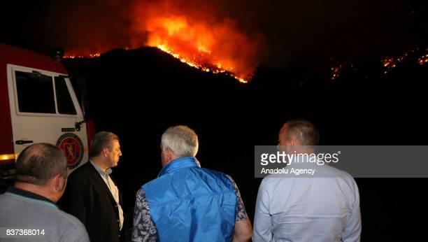Prime Minister of Georgia Giorgi Kvirikashvili and Minister of Internal Affairs Giorgi Mgebrishvili leads extinguishing work during the wildfire in...