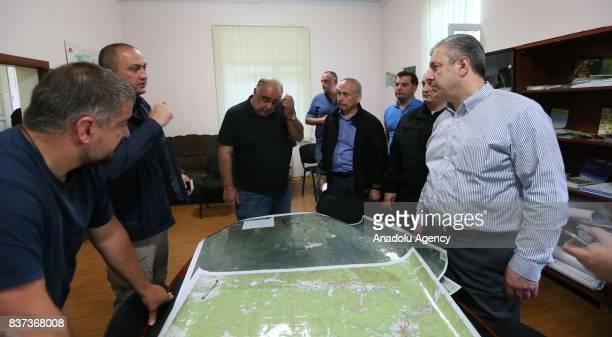 Prime Minister of Georgia Giorgi Kvirikashvili gets information about the wildfire in Daba and Tsagveri villages of Tbilisi's Borjomi Valley Georgia...