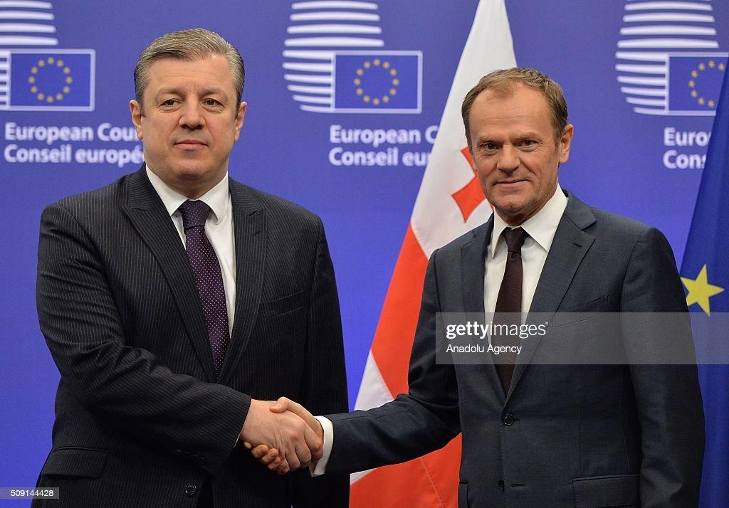 Prime Minister of Georgia Giorgi Kvirikashvili (L) meets European Council President Donald Tusk (R) in Brussels, Belgium on February 9, 2016.