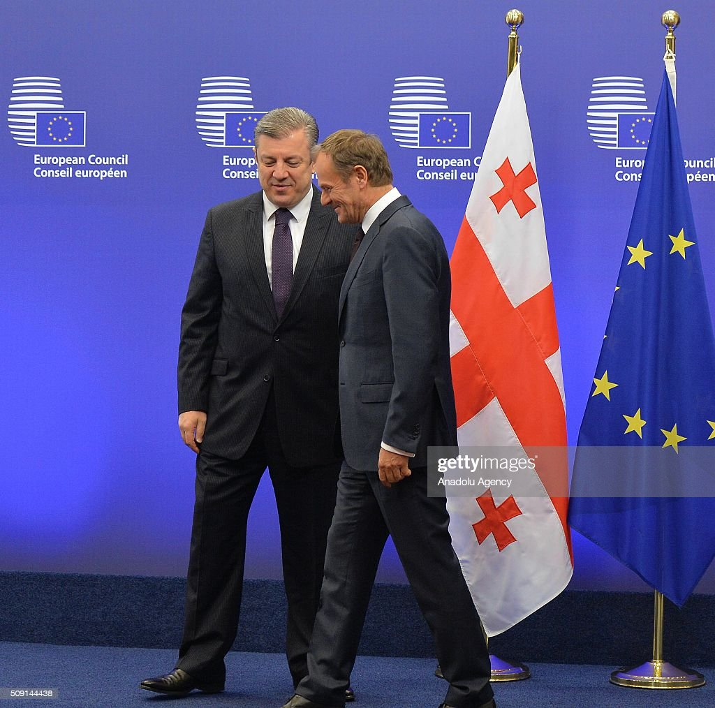 Prime Minister of Georgia Giorgi Kvirikashvili (L) meets European Council President Donald Tusk (R) in Brussels, Belgium on February 9, 2016.