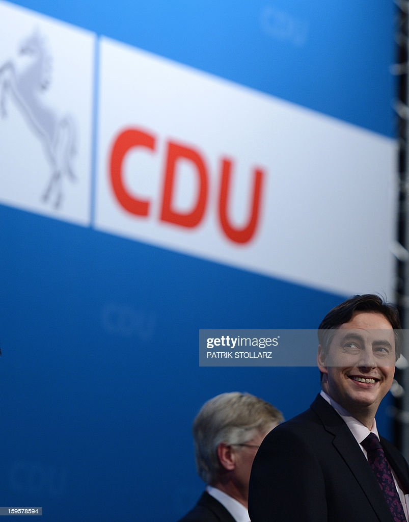 Prime Minister of German Federal State, Lower-Saxony, David McAllister reacts after a speech during an election campaign event of the regional Christian Democratic Union (CDU) party for the 2013 state elections in Osnabrueck, northern Germany, on January 16, 2013.
