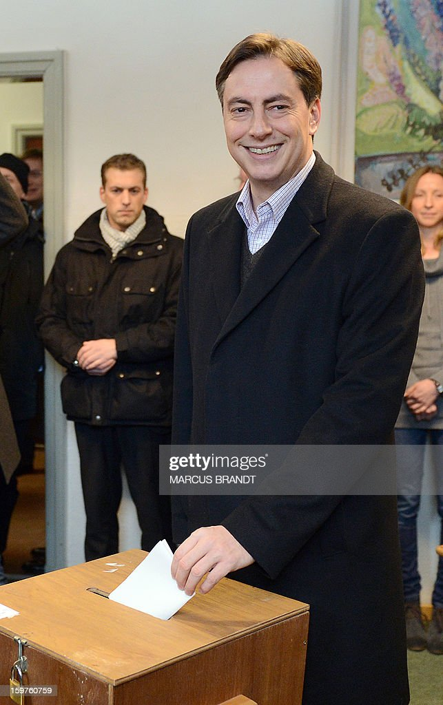 Prime Minister of German Federal State, Lower-Saxony, David McAllister casts his ballot at a polling station on January 20, 2013 on polling day in Bad Bederkesa, Germany (Lower Saxony).