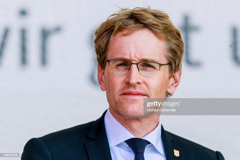 Prime Minister of german state of Schleswig Holstein, Daniel Guenther, attends the election campaign for Bundestagswahl 2017 or Federal election 2017 on August 21, 2017 in Sankt Peter-Ording, Germany.