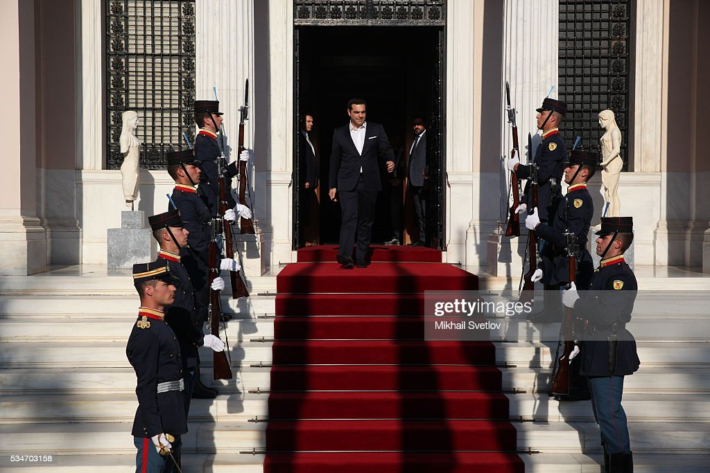 Prime Minister of Greece Alexis Tsipras arrives to meet Russian President <a gi-track='captionPersonalityLinkClicked' href=/galleries/search?phrase=Vladimir+Putin&family=editorial&specificpeople=154896 ng-click='$event.stopPropagation()'>Vladimir Putin</a> (not pictured) in Athens, Greece, May 27, 2016. <a gi-track='captionPersonalityLinkClicked' href=/galleries/search?phrase=Vladimir+Putin&family=editorial&specificpeople=154896 ng-click='$event.stopPropagation()'>Vladimir Putin</a> is having a state visit to Greece.