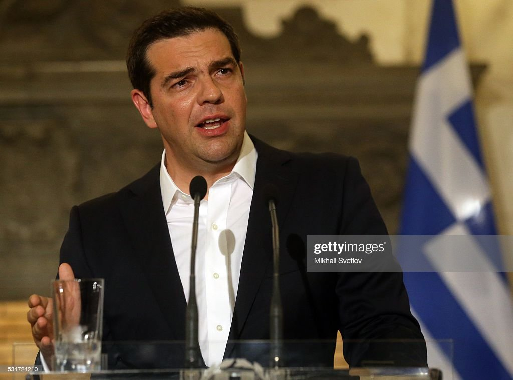 Prime Minister of Greece Alexis Tsipras attends a joint press conference after the meeting in Athens, Greece, May 27, 2016. Vladimir Putin is having a state visit to Greece.