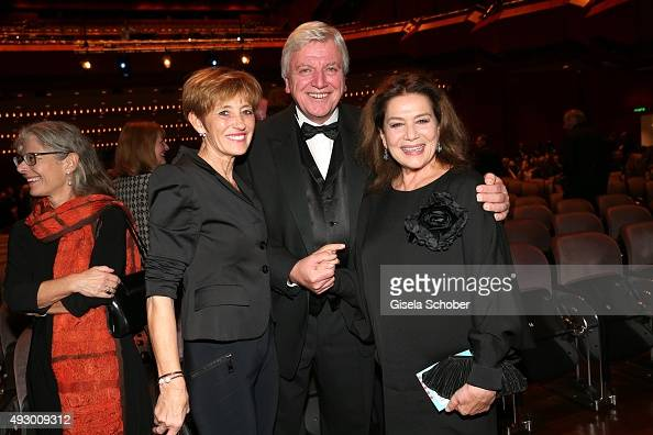 Prime Minister of Hessen Volker Bouffier and his wife Ursula Bouffier and Hannelore Elsner during the Hessian Film and Cinema Award 2015 at Alte Oper...