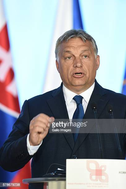 Prime Minister of Hungary Victor Orban attends the meeting of The Visegrad Group on July 21 2016 in Warsaw Poland The Visegrad Group is an alliance...