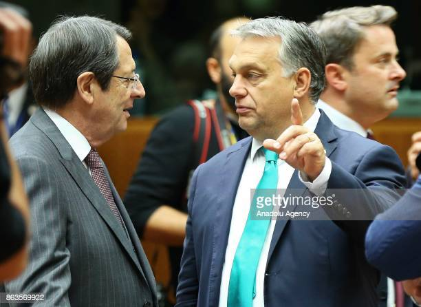 Prime Minister of Hungary Viktor Orban and Greek Cypriot leader Nikos Anastasiadis attend the European Council Meeting at the Council of the European...