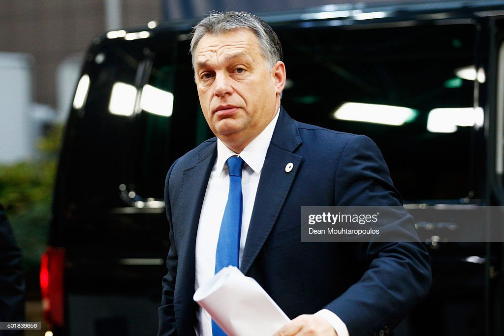 Prime Minister of Hungary, <a gi-track='captionPersonalityLinkClicked' href=/galleries/search?phrase=Viktor+Orban&family=editorial&specificpeople=4685765 ng-click='$event.stopPropagation()'>Viktor Orban</a> arrives for The European Council Meeting In Brussels held at the Justus Lipsius Building on December 18, 2015 in Brussels, Belgium. European leaders are meeting to discuss David Camerons proposed EU reforms, as well as focussing on the migrant crisis, the fight against terrorism and climate change.