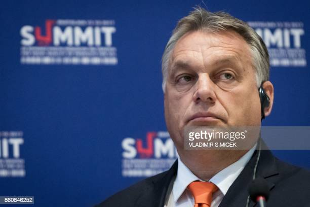 Prime Minister of Hungary Viktor Orban looks on during a press conference at a Summit on Equal Quality of Products for All in Bratislava Slovakia on...