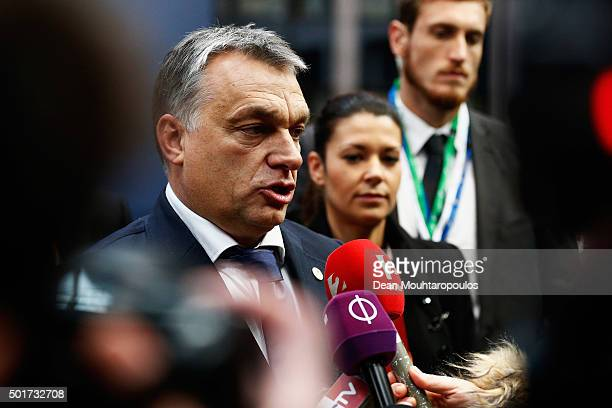 Prime Minister of Hungary Viktor Orban speaks to the media prior to The European Council Meeting In Brussels held at the Justus Lipsius Building on...