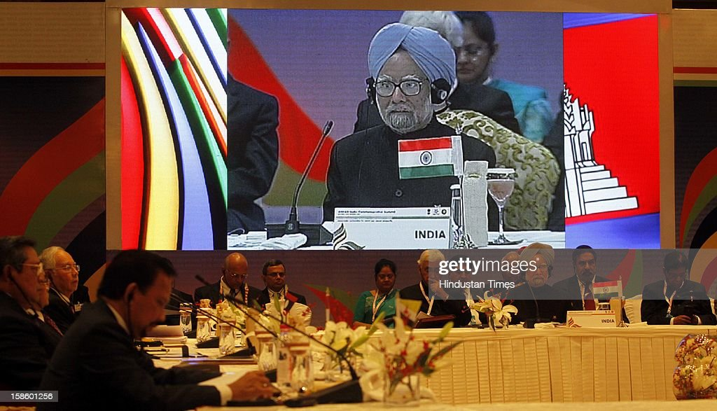 Prime Minister of India Dr. Manmohan Singh address the plenary session of the ASEAN-India Commemorative Summit on December 20, 2012 in New Delhi, India. The free trade agreement in services and investment between India and 10 ASEAN countries was finalised after intense negotiations. It would create one of the world's biggest free trade areas with a market of around 1.8 billion people and a combined gross domestic product of $2.8 trillion. Prime Minister of India Dr. Manmohan Singh address the plenary session of the ASEAN-India Commemorative Summit on December 20, 2012 in New Delhi, India.