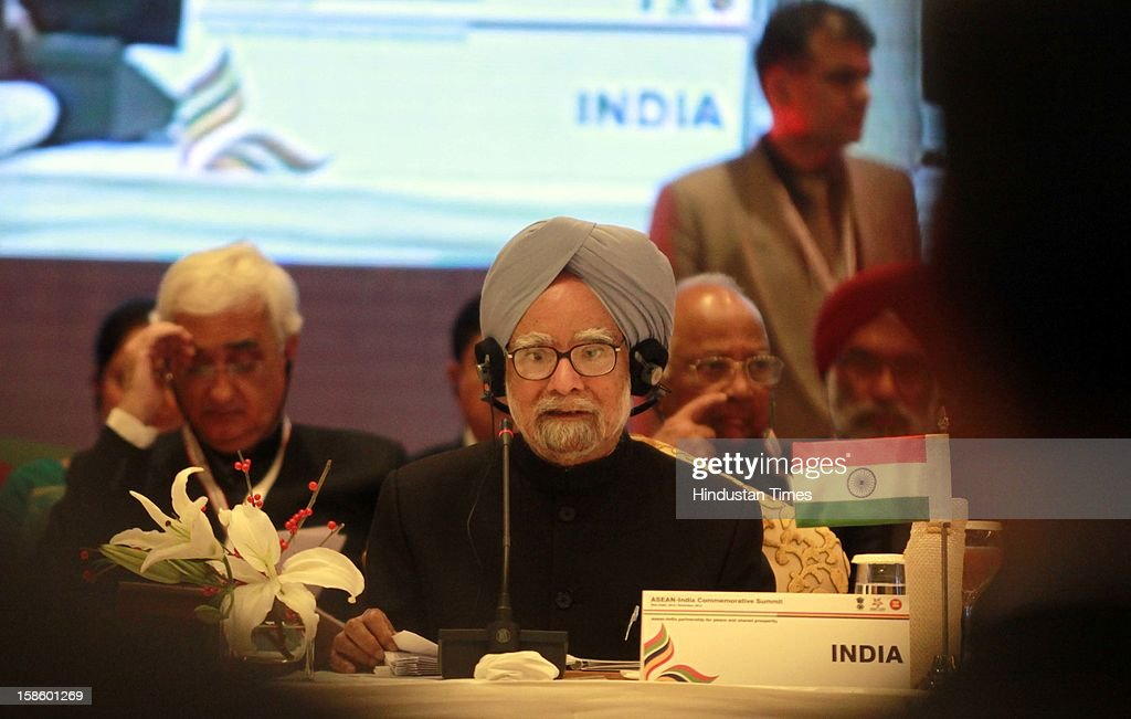 Prime Minister of India Dr. Manmohan Singh address the plenary session of the ASEAN-India Commemorative Summit on December 20, 2012 in New Delhi, India. The free trade agreement in services and investment between India and 10 ASEAN countries was finalised after intense negotiations. It would create one of the world's biggest free trade areas with a market of around 1.8 billion people and a combined gross domestic product of $2.8 trillion.