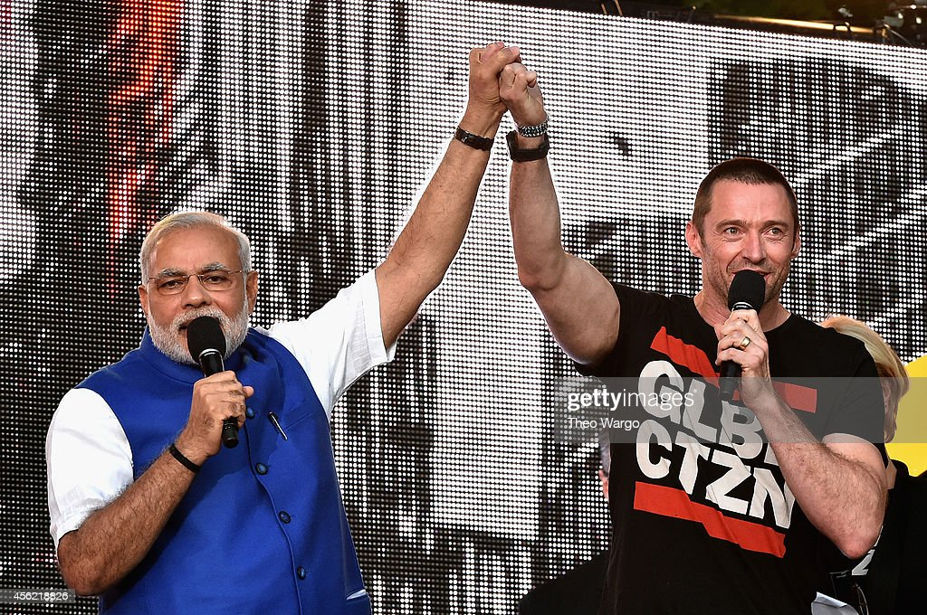 Prime Minister of India <a gi-track='captionPersonalityLinkClicked' href=/galleries/search?phrase=Narendra+Modi&family=editorial&specificpeople=822611 ng-click='$event.stopPropagation()'>Narendra Modi</a> and <a gi-track='captionPersonalityLinkClicked' href=/galleries/search?phrase=Hugh+Jackman&family=editorial&specificpeople=202499 ng-click='$event.stopPropagation()'>Hugh Jackman</a> speak onstage at the 2014 Global Citizen Festival to end extreme poverty by 2030 in Central Park on September 27, 2014 in New York City.