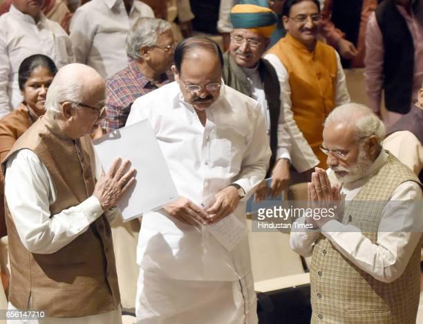 Prime Minister of India Narendra Modi Sr BJP leader and Lok Sabha MP Lal Krishna Advani Union Minister of Urban Development Venkaiah Naidu with other...