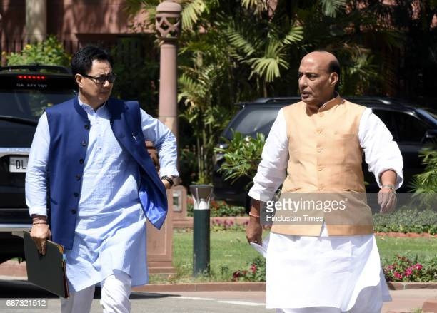 Union Home Minister Rajnath Singh talking to Minister of Home Affairs Kiren Rijiju after attending the BJP Parliamentary Party Meeting at Parliament...