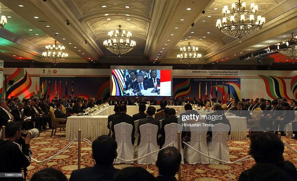 Prime Minister of Indonesia Dr. Susilo Bambang Yadhoyono address the plenary session of the ASEAN-India Commemorative Summit on December 20, 2012 in New Delhi, India. The free trade agreement in services and investment between India and 10 ASEAN countries was finalised after intense negotiations. It would create one of the world's biggest free trade areas with a market of around 1.8 billion people and a combined gross domestic product of $2.8 trillion.