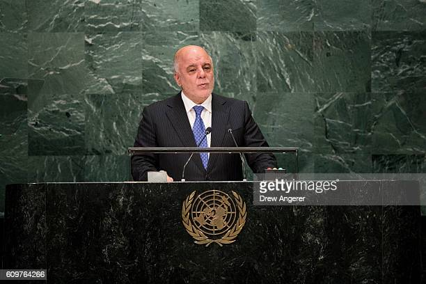 Prime Minister of Iraq Haider Al Abadi addresses the United Nations General Assembly at UN headquarters September 22 2016 in New York City According...