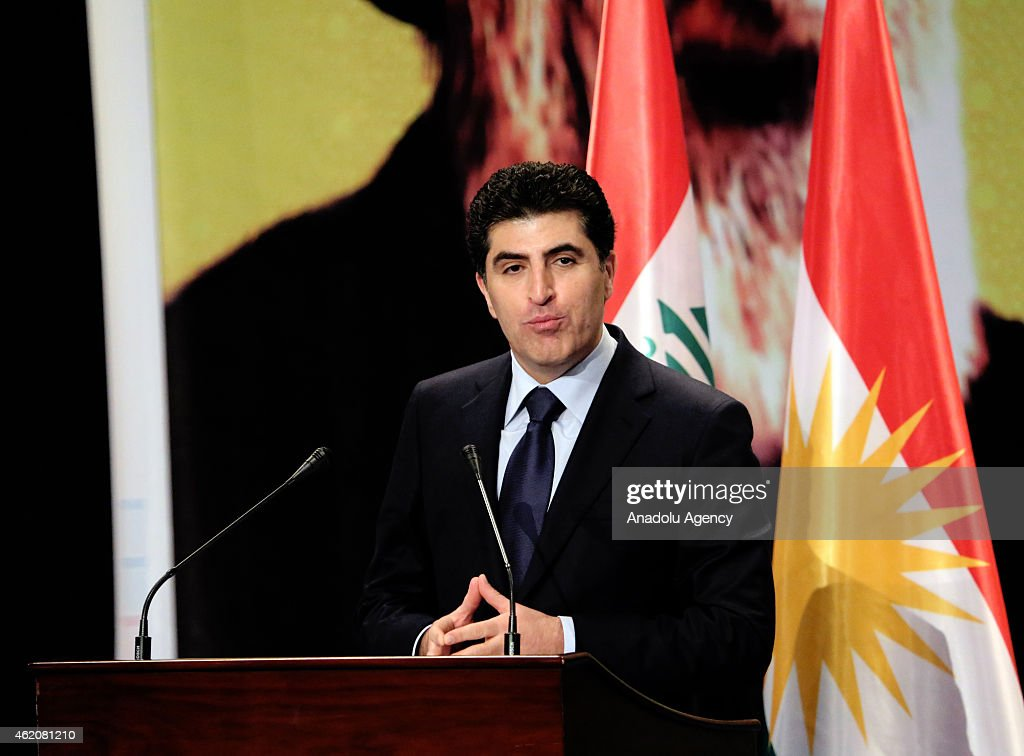 Prime Minister of Iraqi Kurdish Regional Government (KRG) Nechervan Barzani speaks during 45th commemoration ceremony of Muhsin al-Hakim, grandfather of President of the Islamic Supreme Council of Iraq Ammar al-Hakim, at Saad Abdullah Palace Conference Centre in Arbil, Iraq on January 24, 2015.