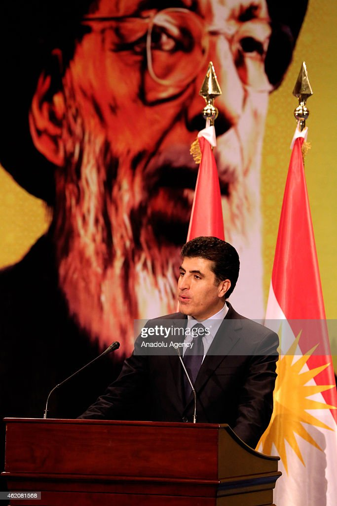 Prime Minister of Iraqi Kurdish Regional Government (KRG) Nechervan Barzani speaks during 45th commemoration ceremony of Muhsin al-Hakim, grandfather of President of the Islamic Supreme Council of Iraq <a gi-track='captionPersonalityLinkClicked' href=/galleries/search?phrase=Ammar+al-Hakim&family=editorial&specificpeople=881718 ng-click='$event.stopPropagation()'>Ammar al-Hakim</a>, at Saad Abdullah Palace Conference Centre in Arbil, Iraq on January 24, 2015.
