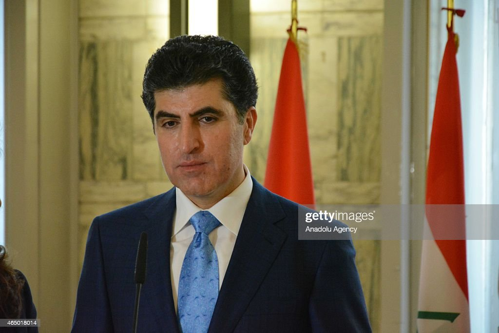 Prime Minister of Iraqi Kurdish Regional Government (KRG) Nechervan Barzani holds a joint press conference with Italian Foreign Minister Paolo Gentiloni (not seen) after a meeting in Rome, Italy on March 03, 2015.