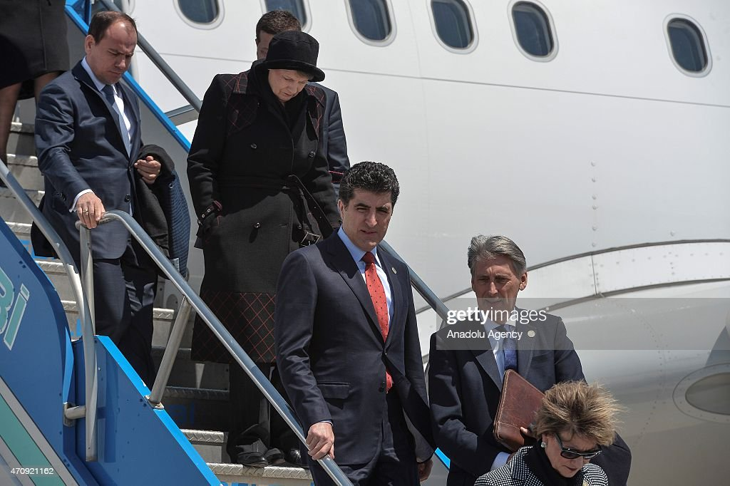 Prime Minister of Iraqi Kurdish Regional Government (KRG) Nechervan Barzani (C) and e Secretary of State for Foreign and Commonwealth Affairs Philip Hammond (2nd R) arrive in Canakkale to attend a commemoration ceremony marking the 100th anniversary of the Canakkale Land Battles on April 24, 2015.