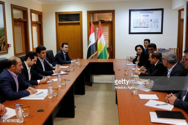Prime Minister of Iraqi Kurdish Regional Government Nechirvan Barzani attends a meeting with the officials of Darbandikhan district in Sulaymaniyah's...