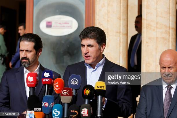 Prime Minister of Iraqi Kurdish Regional Government Nechirvan Barzani speaks during a press conference after attending a meeting with the officials...