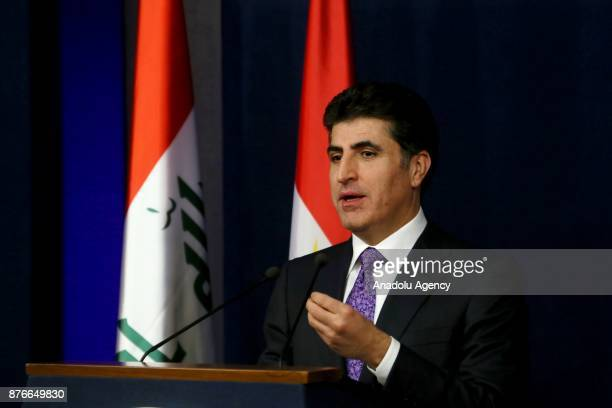 Prime Minister of Iraqi Kurdish Regional Government Nechirvan Barzani speaks during a press conference held after cabinet meeting in Erbil Iraq on...