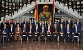 Prime Minister of Iraqs Kurdish Regional Government Nechirvan Barzani and Deputy Prime Minister Qubad Jalal Talabani pose with ministers during the...