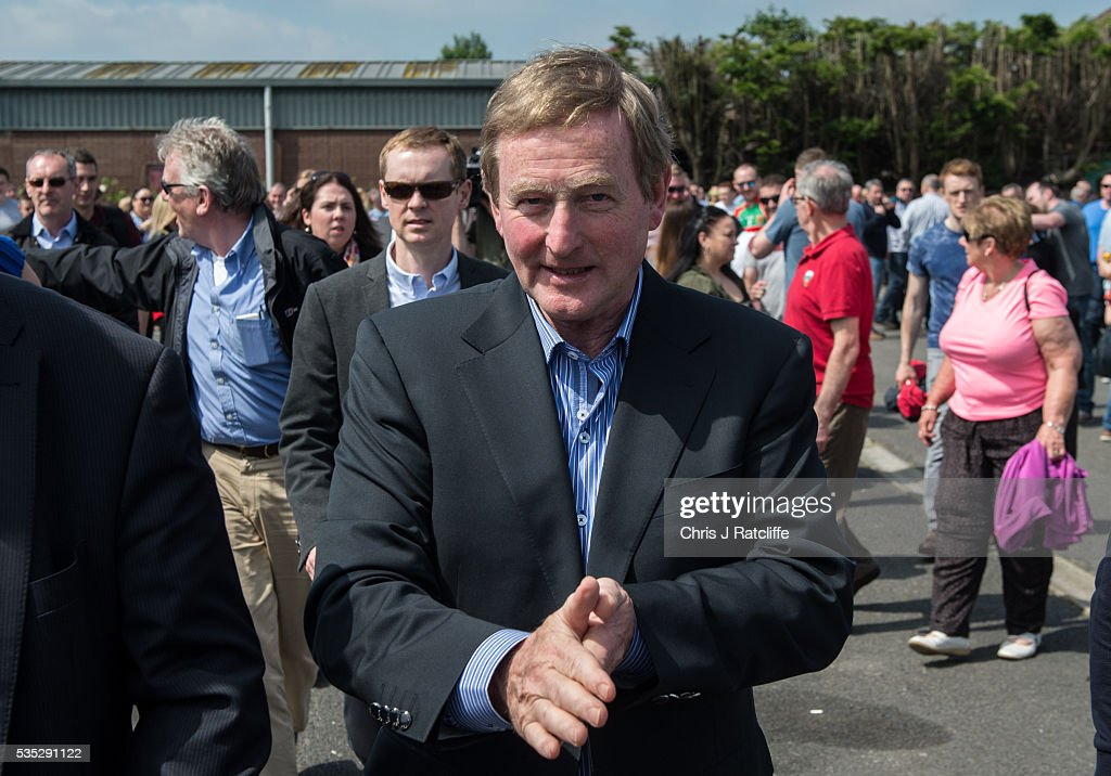 Prime Minister of Ireland <a gi-track='captionPersonalityLinkClicked' href=/galleries/search?phrase=Enda+Kenny&family=editorial&specificpeople=5129605 ng-click='$event.stopPropagation()'>Enda Kenny</a> attends an event to meet Irish4Europe campaigners at the London v Mayo Gaelic football game on May 28, 2016 in Ruislip, England. Mr Kenny spoke to them and the media in support of Britain remaining in the European Union. Britain will go to the polls to vote in the European referendum on June 23.