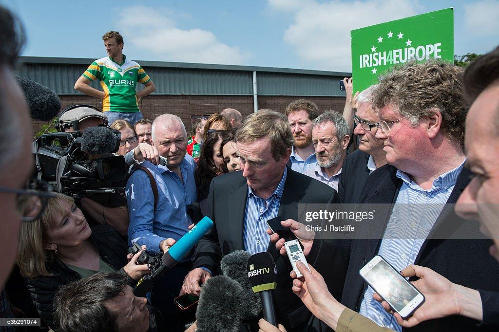 Prime Minister of Ireland <a gi-track='captionPersonalityLinkClicked' href=/galleries/search?phrase=Enda+Kenny&family=editorial&specificpeople=5129605 ng-click='$event.stopPropagation()'>Enda Kenny</a> meets Irish4Europe campaigners and speaks to the media at the London v Mayo Gaelic football game on May 28, 2016 in Ruislip, England. Mr Kenny spoke in support of Britain remaining in the European Union. Britain will go to the polls to vote in the European referendum on June 23.